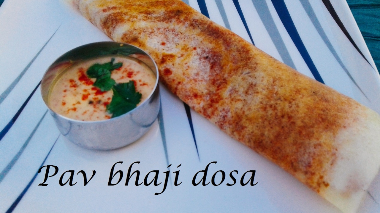 pav bhaji dosa recipe | how to make pav bhaji masala dosa recipe